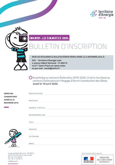 Bulletin d'inscription Concours Les Écoloustics
